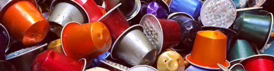 Photo de capsules de café recyclées