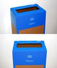 box de recyclage papiers entreprise vue de haut